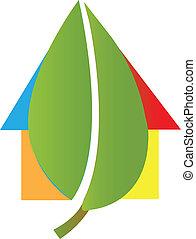 maison, vecteur, feuille, illustration, logo