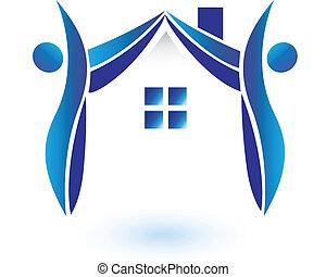 maison, vecteur, figures, logo