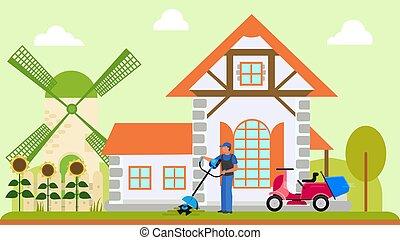 maison, vecteur, fleurir, motocyclette, jardin, faucheurs, ouvrier, illustration., deux, propriétaire, homme, moulin, mows, machine., sunflowers., pelouse, pays, ou, électrique