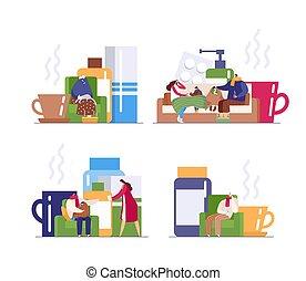 maison, vecteur, froid, virus, santé, prendre, grippe, famille, gens, isolé, soin, saison, ensemble, souffrance, illustrations, white.
