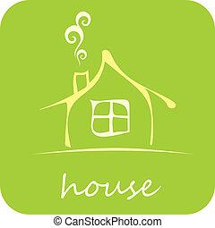 maison, vecteur, -, icône