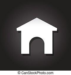maison, vecteur, icône, entrance.