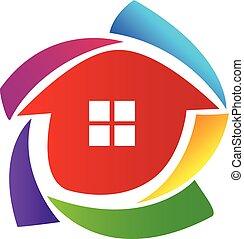 maison, vecteur, logo