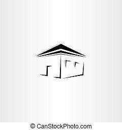 maison, vecteur, noir, perspective, icône