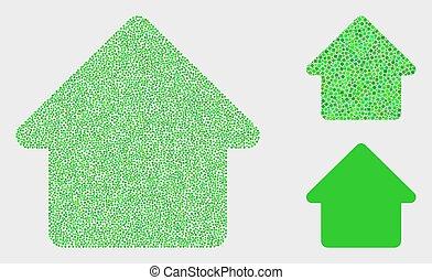 maison, vecteur, pixel, icônes