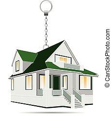 maison, vecteur, porte clé, illustration