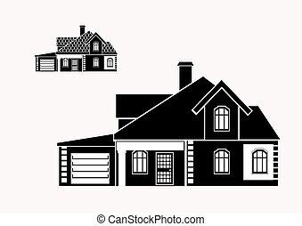 maison, vecteur, privé