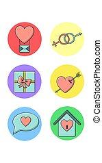 maison, vecteur, rond, genre, coeur, icônes, blanc, articles, balloon, symboles, lettre, six, vacances, illustration, amour, réel, ensemble, cadeau, arrière-plan.