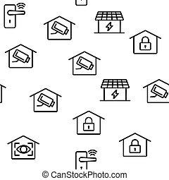 maison, vecteur, seamless, intelligent, modèle