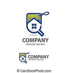 maison, vecteur, ventes, logo