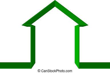 maison, vecteur, vert, icône