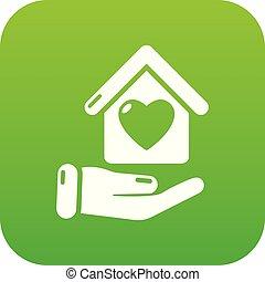 maison, vecteur, vert, main, icône