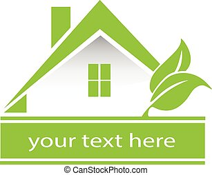 maison, vecteur, vert, pousse feuilles, logo