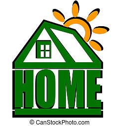 maison, vecteur, vert, soleil, icône