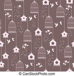 maison, vendange, seamless, oiseau