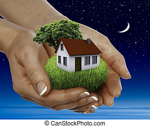 maison, vente, étoiles, entiers, nuit
