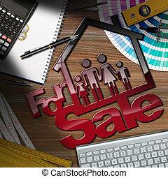 maison, -, vente, famille, bureau