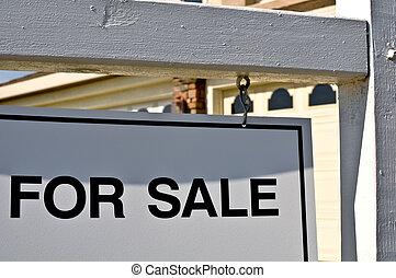 maison, vente, fond, signe