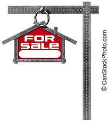 maison, -, vente, mètre, signe, métallique