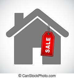 maison, vente, rouges, étiquette