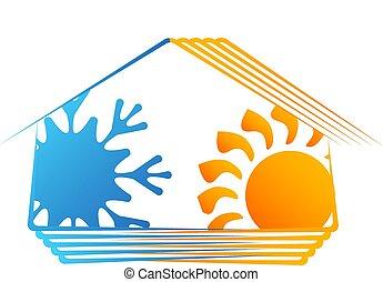 maison, ventilation, symbole, chauffage