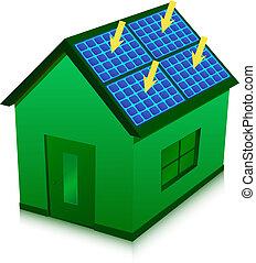 maison, vert, énergie solaire