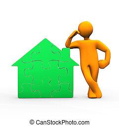 maison, vert, homoncule