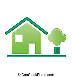 maison, vert, icône