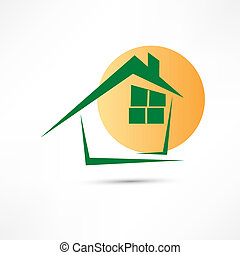 maison, vert, icônes