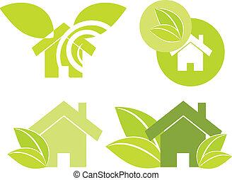 maison, vert, illustration