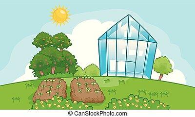maison, vert, jardin, illustration