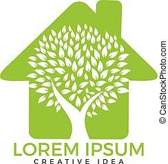 maison, vert, logo.