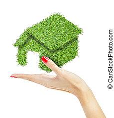 maison, vert, main