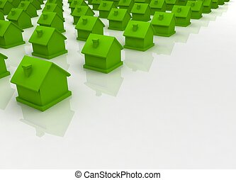 maison, vert, premier plan