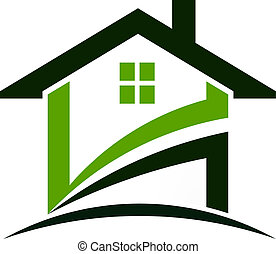 maison, vert, swoosh