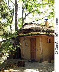 maison, vieux,  Adobe, toit, couvert chaume