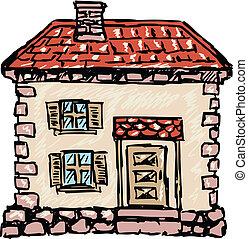 maison, vieux, européen