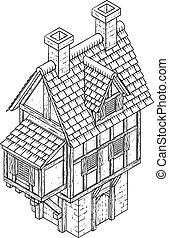 maison ville, carte, tudor, fantasme, icône, bâtiment, vendange