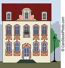 maison ville, vieux, romantique