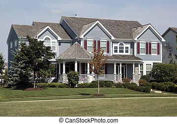 maison, volets, cèdre, rouges, toit