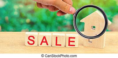 """maison, vrai, vente, inscription, bois, propriété, affordable, maison, """"sale""""., estate., housing."""