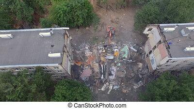 maison, vue aérienne, bâtiment, machinery., ruines, démolition