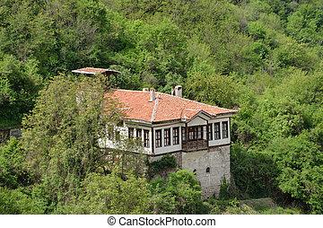 maison, vue,  melnik, aérien, Bulgarie