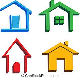 maisons, 3d, icônes