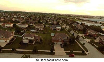 maisons, aérien, vol, résidentiel