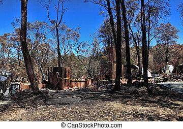 maisons, après, bushfires, razed