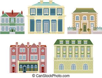 maisons, bâtiments, vieux, luxe, façonné
