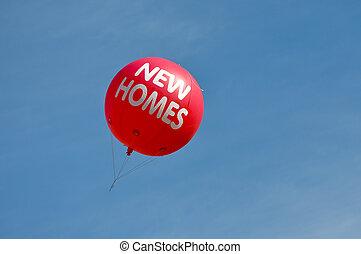 maisons, balloon, air, chaud, annonce, nouveau, signe