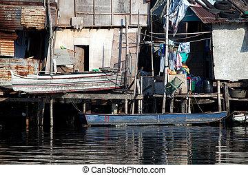 maisons, baraque, philippine, long, rivière, squatter