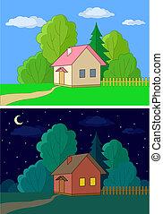 maisons, bord, forêt